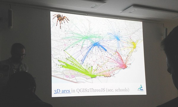 Ross and a spider present school catchment visualizations at                FOSS4G UK 2018