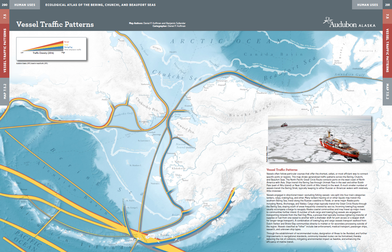 Vehicle traffic patterns, Ecological Atlas of the Bering,               Chukchi, and Beaufort Seas, by Daniel P. Huffman
